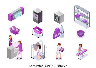 Laundry or dry cleaners service icons set, isometric 3d illustration with washingmachine and ironing machine, cleaning equipment, baskets, detergent, vector interior of clothes cleaning shop