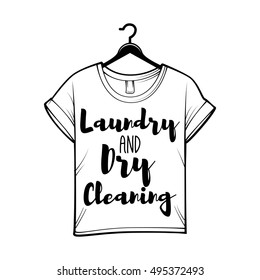 laundry and dry cleaning logo, emblem and design element. t-shirt