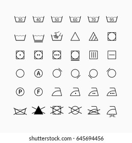 Laundry and drycleaning vector symbols set. Garment clothing care icons and washing labels.