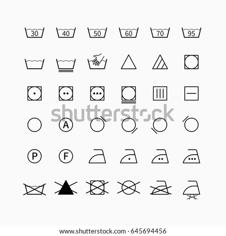 Laundry Drycleaning Vector Symbols Set Garment Stock Vector Royalty