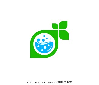 Laundry Eco Leaf Logo Design Template