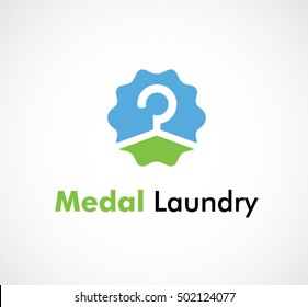 Laundry of fresh wash abstract vector and logo design or template clean business icon of company identity symbol concept
