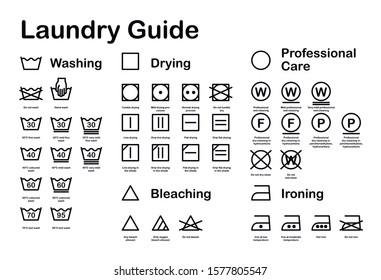 Laundry Guide. Care Symbols. Vector Icon Set