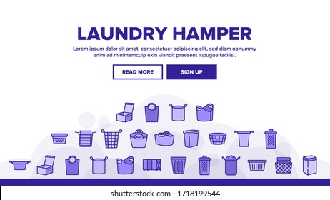 Laundry Hamper Basket Landing Web Page Header Banner Template Vector. Laundry Hamper And Bag For Dirty Clothes, Container And Package Textile Storaging Illustrations