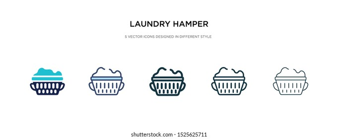 laundry hamper icon in different style vector illustration. two colored and black laundry hamper vector icons designed in filled, outline, line and stroke style can be used for web, mobile, ui