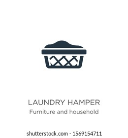 Laundry hamper icon vector. Trendy flat laundry hamper icon from furniture and household collection isolated on white background. Vector illustration can be used for web and mobile graphic design,