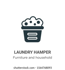 Laundry hamper vector icon on white background. Flat vector laundry hamper icon symbol sign from modern furniture and household collection for mobile concept and web apps design.