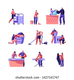 Laundry and Home Cleaning Set. Male and Female Characters Loading Dirty Clothes to Washing Machine, Ironing, Rolling Cart with Clean Dresses in Launderette, Service. Cartoon Flat Vector Illustration