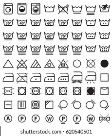 laundry icon set, washing clothes care instructions and labels