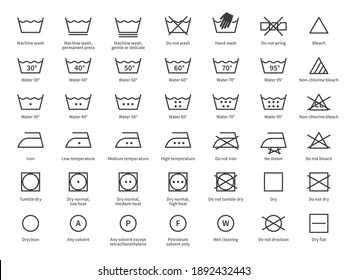 Laundry icons. Care clothes instructions on labels, machine or hand washing signs. Water, ironing and drying temperature symbols collection, textile and fabric types. Vector line items isolated set