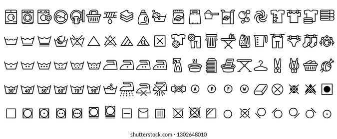 Laundry icons set. Outline set of laundry vector icons for web design isolated on white background