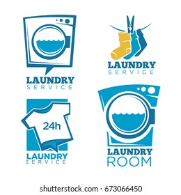 Laundry icons vector templates set of linen, washing machine and detergent