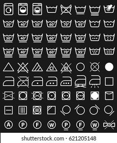 laundry instruction icons and washing care symbols or labels