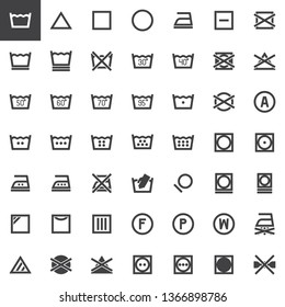 Laundry instructions vector icons set, modern solid symbol collection, filled style pictogram pack. Signs logo illustration. Set includes icons as dry wash machine sign, do not iron, water temperature