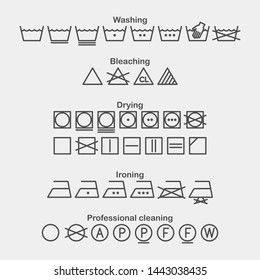 Laundry and ironing vector symbols. Machine wash flat vector icons