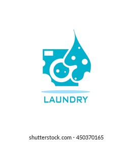 Laundry Label and Badge,Washing Machine, Laundry Washer, Good for business logo Design Template. vector illustration