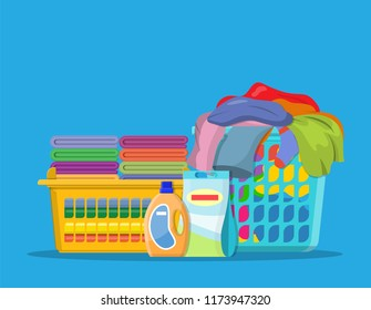 Laundry linen or clothes in baskets and detergent. cleaning or washing service concept. Vector illustration in flat style