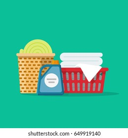 Laundry linen or clothes in baskets vector illustration flat cartoon style, cleaning or washing service concept