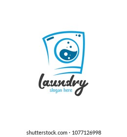 Laundry Logo Design Icon Template. Cleaning Service Vector Illustration