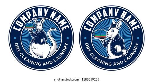 Laundry logo design, with two alternative rabbit and kangaroo mascot