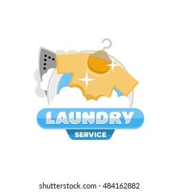 Laundry logo emblem badge template.