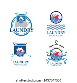 Laundry logo vector icon illustration design template