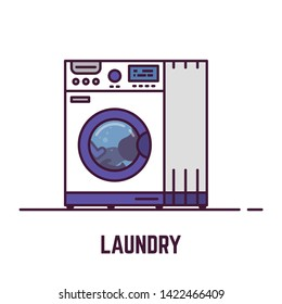 Laundry machine. Laundry line style vector. Washing machine vector flat style banner.