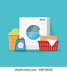 Laundry machine with washing clothing and linen vector illustration, flat carton style washer with baskets of linen and detergent, concept of domestic housework service clipart