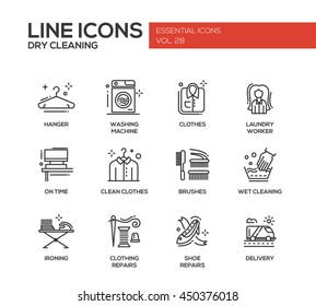 Laundry - modern vector simple line design icons and pictograms set. Hanger, washing machine, clothes, brushes, wet, dry cleaning, ironing, clothing, shoe repairs, delivery