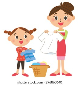 Laundry and parent and child