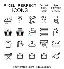 Laundry pixel perfect icon set with washing and housework concept