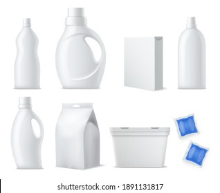 Laundry products mockup. Realistic clean white plastic bottles, containers and packs, washing powders, capsules packaging and gels. Household cleaning products branding template vector 3d isolated set