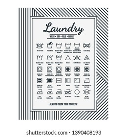 Laundry Room Decor - Laundry Care Symbols, Laundry Guide, Printable Art.