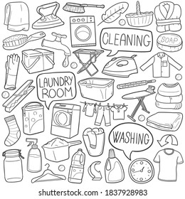 Laundry Room doodle icon set. Clean Machine Vector illustration collection. Home Hand drawn Line art style.