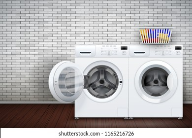 Laundry room interior with two washing machines on brick wall background. The concept of modern equipment for home laundry and household appliances. Vector Illustration