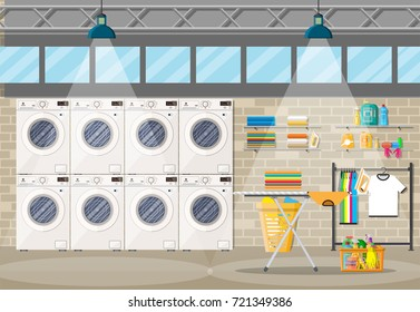 Laundry room interior with washing machine, ironing board, iron, clothes rack, household chemistry cleaning, washing powder and basket. Brick wall, windows and lamp. Vector illustration in flat style