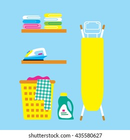 Laundry room with iron, ironing board, towels, facilities for washing, basket. Flat style vector illustration.