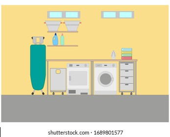 laundry room and ironing white background