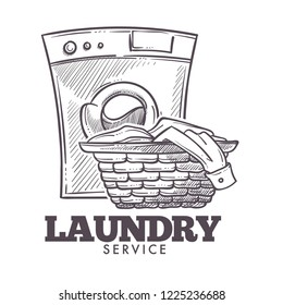 Laundry room open daily everyday public service vector. Monochrome sketch outline of basket filled with clothes and towels need to be washed. Domestic household chores, laundromat tasks