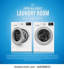 Laundry Room realistic vector illustration on blue background.  Cover  template.  banner design.