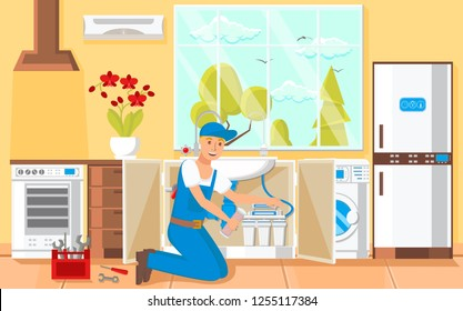 Laundry Room Repair and Plumber Concept. Worker Man and Washing Machine. Tools and Fixes Water. Filtration Technology. Plumber Services Business. Water Purification. Vector Flat Illustration.