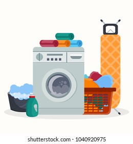 Laundry room service concept. Working washing machine with linen baskets, detergent, ironing board and towels. Cleaning service concept. Flat vector illustration