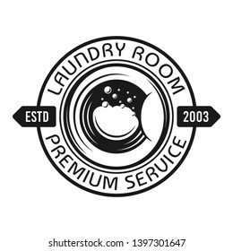 Laundry room and service vector emblem, label, badge or logo with washing machine drum in vintage monochrome style isolated on white background
