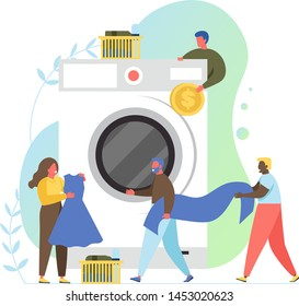 Laundry room with tiny characters loading big washing machine and putting coin into it, vector flat style design illustration. Self-service laundry concept for web banner, website page etc.