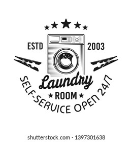 Laundry room vector emblem, label, badge or logo with washing machine in vintage monochrome style isolated on white background