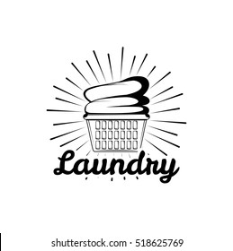 Laundry Room Vintage Logo Label Badge With Clean Clothes In Basket Vector Illustration