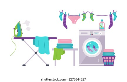 Laundry room with washing machine, ironing board, clothes rack, basket vector Illustration