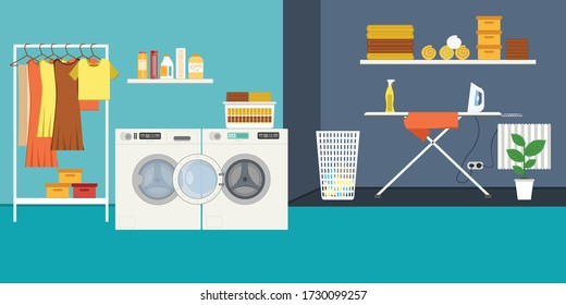 Laundry room with washing machine, ironing board, clothes rack and basket. vector illustration in flat style