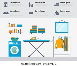 Laundry room with washing machine, ironing board, clothes rack with things, facilities for washing, washing powder and mirror. Flat style vector illustration.