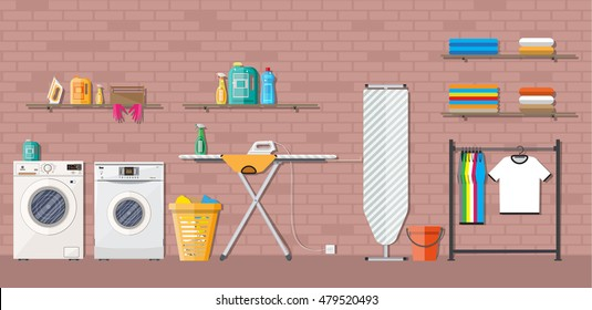 Laundry room with washing machine, ironing board, clothes rack, household chemistry cleaning, washing powder and basket. vector illustration in flat style